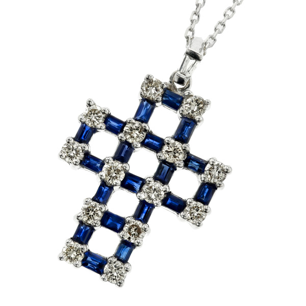 サファイア ネックレス 1.00ct(Total) --ステップカット K18WG サファイア sapphire ダイヤモンド diamond ネックレス necklace ペンダント pendant ブルー blue サファイアネックレス サファイアペンダント k18 18金 ホワイトゴールド