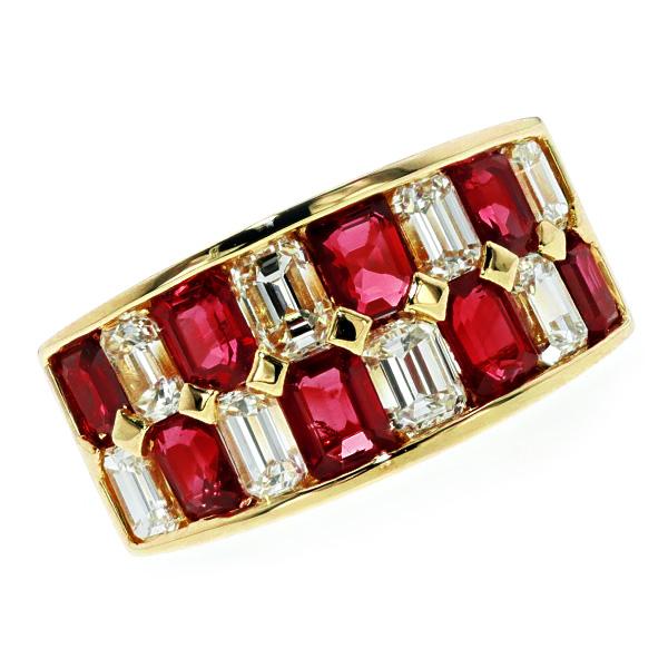 ルビー&ダイヤモンド リング R2.24ct(Total)/D1.51ct(Total) VVS~VSクラス-D~Gクラス-エメラルドカット K18 2ct 2カラット 1ct 1カラット ダイヤモンド ルビー 指輪 ruby プラチナ ダイヤリング ダイアリング ダイヤ ダイアモンド 色石
