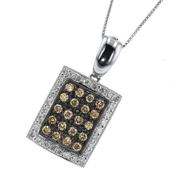 ダイヤモンド ネックレス 1.00ct(Total) VS~Iクラス-FANCY BROWNクラス/D~Fクラス-ラウンドブリリアントカット Pt 1ct 1カラット ダイヤモンド ブラウンダイヤ ダイヤ ダイアモンド ダイア プラチナ 特別奉仕品