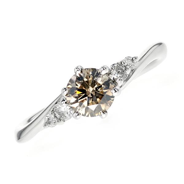 【ご注文確認後3%OFF】ダイヤモンド リング 0.47ct SIクラス-FANCY BROWNクラス-ラウンドブリリアントカット Pt 0.4ct 0.4カラット ダイヤモンドリング 指輪 ダイヤリング ダイアリング ダイアモンド diamond ダイヤモンド ブラウン 特価