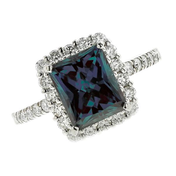 【中古】合成アレキサンドライト リング 2.31ct --プリンセスカット Pt プラチナ pt900 2ct 2carat 2カラット アレキ アレキサンドライト ダイアモンド ダイヤ ダイヤモンドリング ダイアリング diamond 指輪