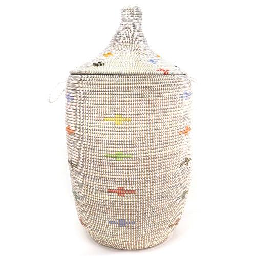 セネガルバスケット大 ふた付きカゴ クロス模様 白マルチ