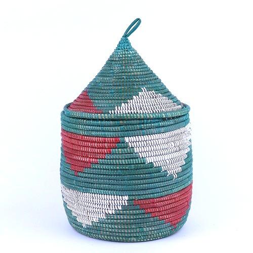セネガル とんがりふた付きカゴ ダイヤ柄 ダークグリーン 安値 メーカー公式ショップ 大