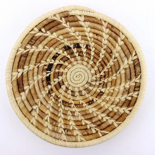 美品 卓抜 ウガンダバスケット 径25 ベージュ茶