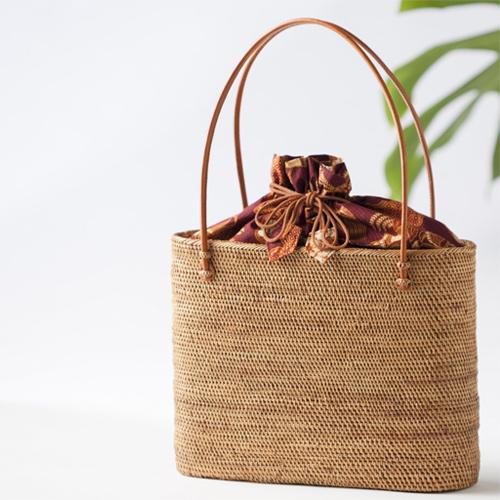 ナルミニさんのアタバッグ トートタイプ (バリ島 アタバッグ かごバッグ 浴衣 手提げ 夏用バッグ) 肩掛け ショルダー  ギフト好適品 夏バッグ レディース