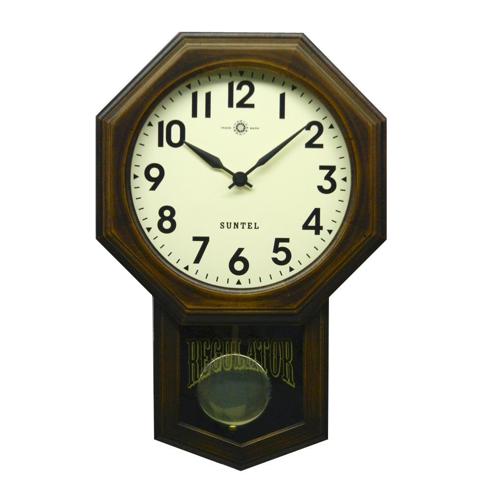 [さんてる 日本製 スタンダード 電波振り子時計 (8角) アンティークブラウン SR07-A (アラビア文字)]昔ながらのなつかしい振り子時計。 さんてる 日本製 スタンダード 電波振り子時計 (8角) アンティークブラウン SR07-A (アラビア文字) (レトロ 壁掛け時計 おしゃれ)