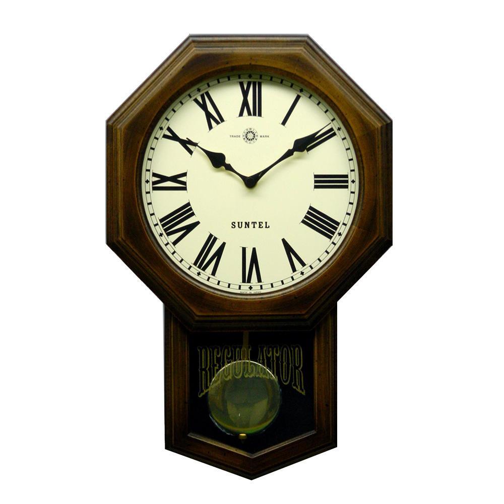 さんてる 日本製 スタンダード 電波振り子時計 (8角) アンティークブラウン SR07-R (ローマ文字) (レトロ 壁掛け時計 おしゃれ)