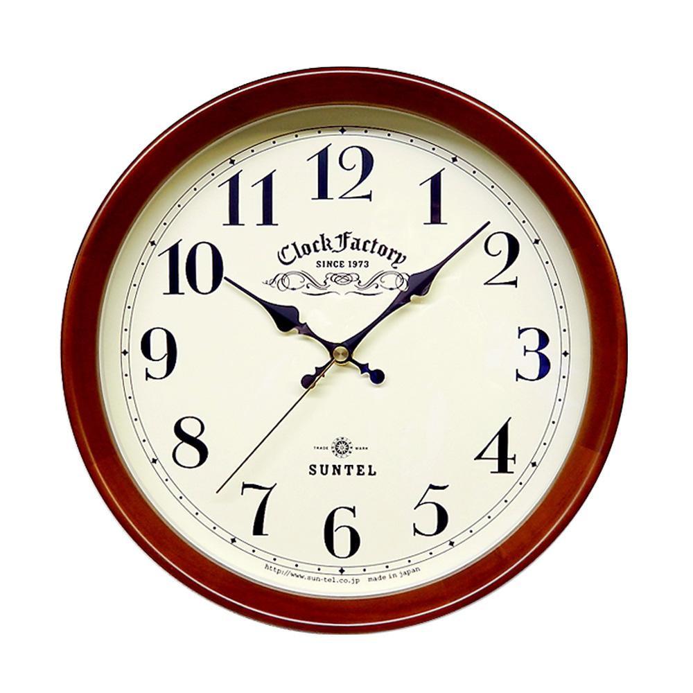 さんてる 日本製 レトロ電波掛け時計 (ファクトリー) ブラウン DQL662-BR (壁掛け時計 アンティーク おしゃれ)