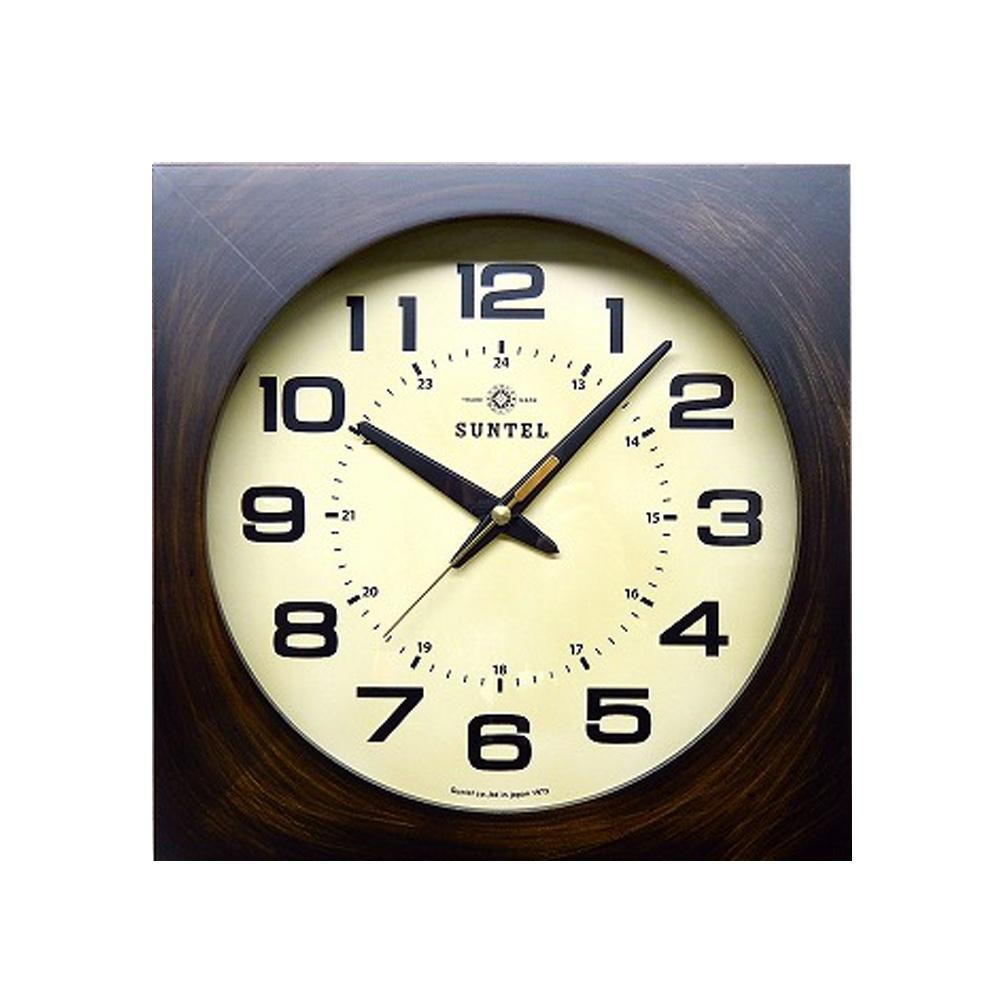 さんてる 日本製 レトロ 電波掛け時計(四角) アンティークブラウン DQL677-AN (