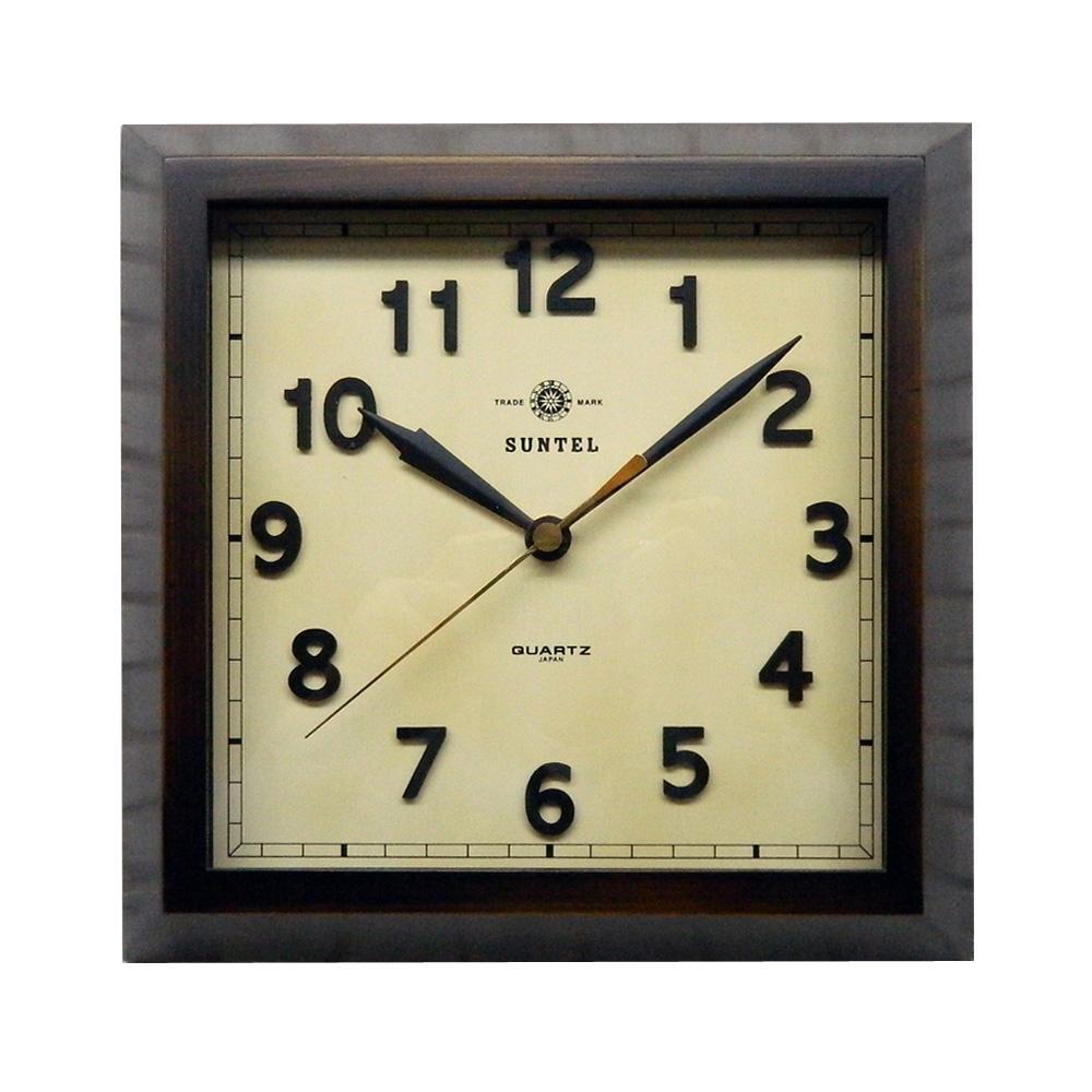 さんてる 日本製 スクウェア 電波掛け時計 アンティークブラウン DQL696-AN (壁掛け時計 スクエア おしゃれ 手作り レトロ)