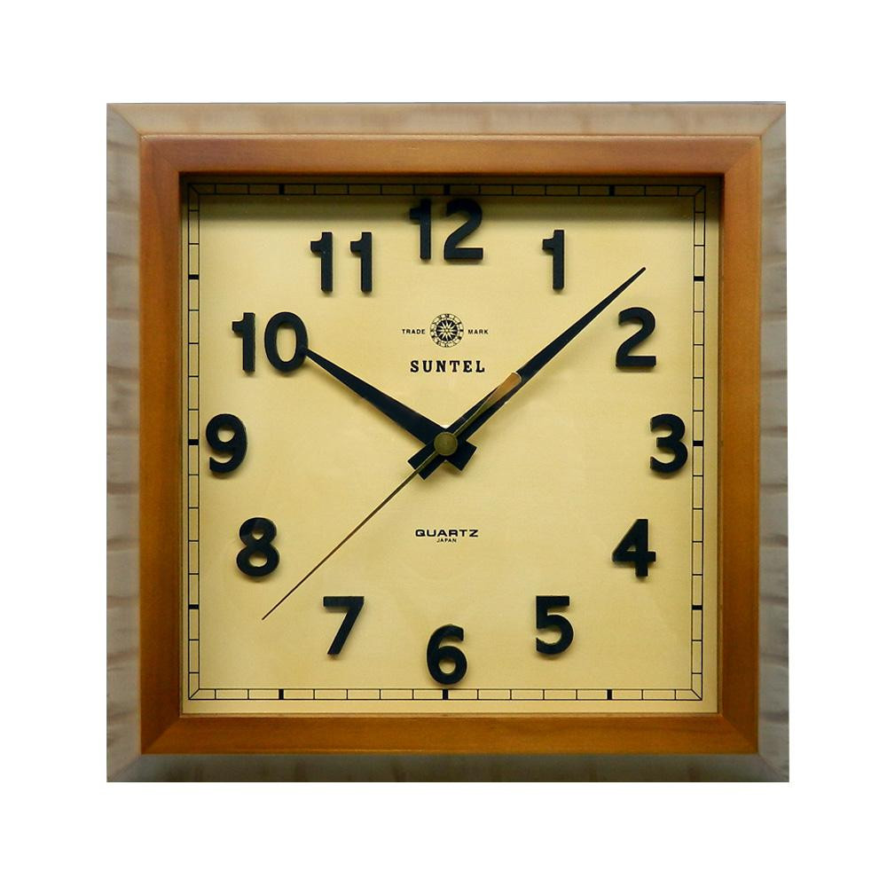 さんてる 日本製 スクウェア 電波掛け時計 ブラウン DQL696-BR (壁掛け時計 おしゃれ 手作り レトロ)
