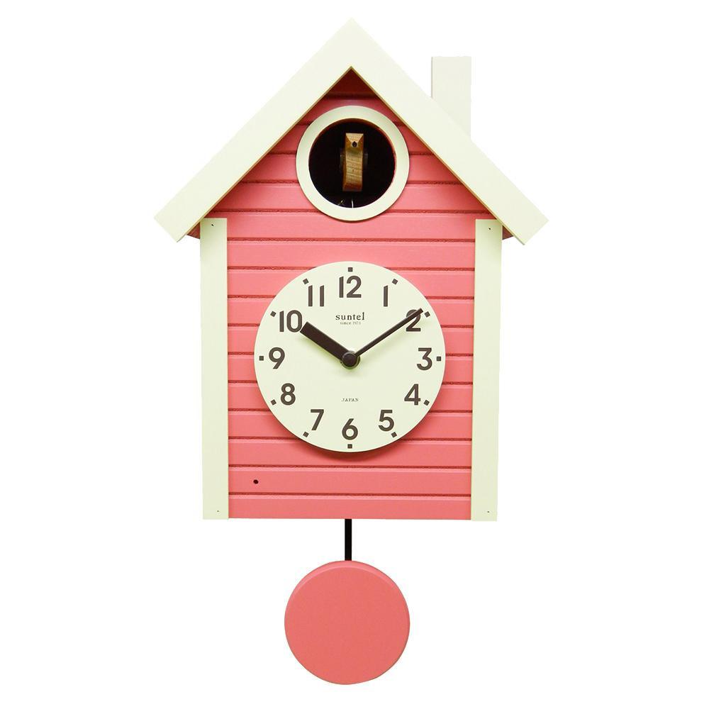 さんてる 日本製 手作り 鳩時計 北欧カラー コーラルピンク SQ03-CP (かわいい ナチュラル 壁掛け時計 レトロ ポップ)