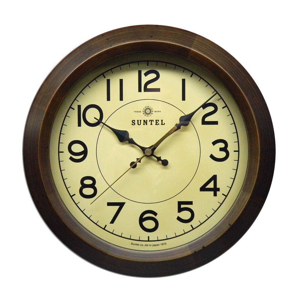 さんてる 日本製 レトロ サークル 電波掛け時計 アンティークブラウン DQL682-AN(シンプル 壁掛け時計 ウォールクロック クラシカル)