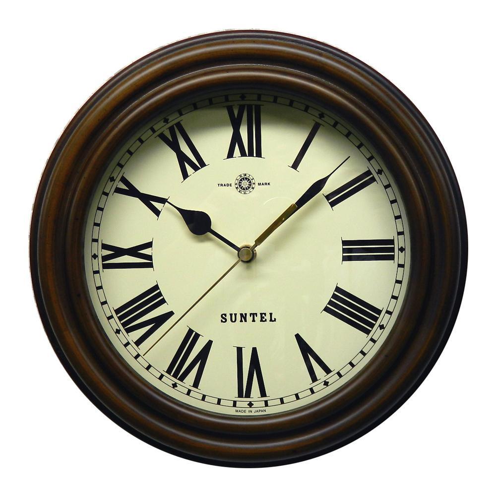 電波時計 掛け時計 レトロ おしゃれ アンティーク調 さんてる 日本製 レトロ電波時計 (ろくろ) アンティークブラウン (ローマ文字) SR14-R