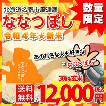 【送料無料】北海道名寄市風連産★令和元年度 ななつぼし/玄米30kg