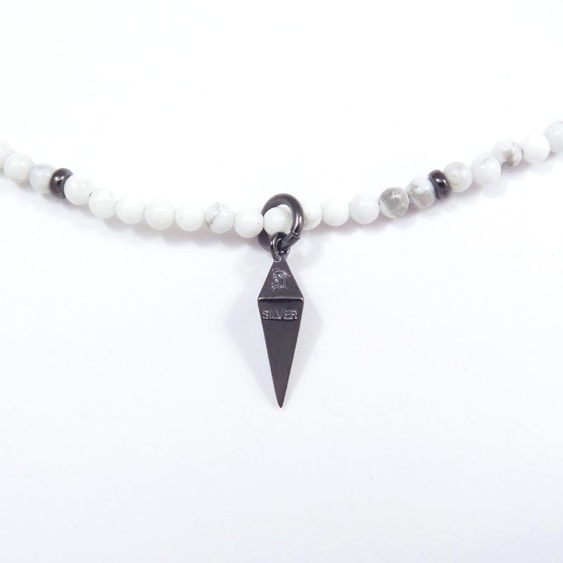 シルバー925 メンズネックレス Pendulum=振子 永遠に無限に時を刻む・・・。振子をイメージにして、シンプルでシャープなTopに。ハウライトネックにはSVビーズを入れました。( Pendulum Necklace white )