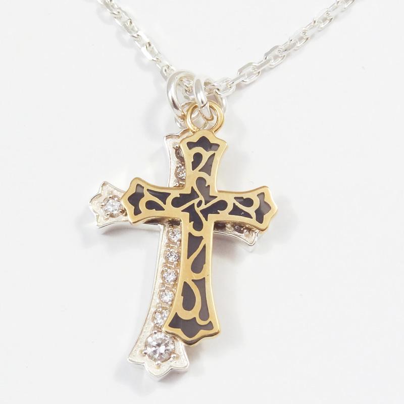 シルバー925 メンズネックレス アラベスク模様の透かしに透け黒のエポキシ樹脂を流したCUAL(銅合金)クロスとキュービックジルコニアをふんだんに埋め込んだシンプルなSILVERクロスの2パーツTop。( Arabesque&Stone Double Cross Necklace White )