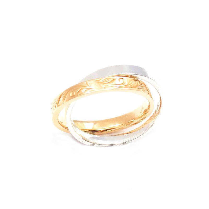 シルバー925 手彫り メンズリングSILVERとCUAL(銅合金)のコンビの2連リング。 SILVERとCUAL(銅合金)のコンビ(Engraving Ring)