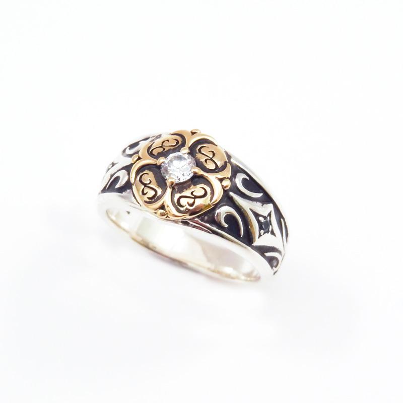 シルバー925 手彫り メンズリングSILVERとCUAL(銅合金)のコンビのアンティーク調リング - SILVER925 CUAL(銅合金) キュービックジルコニア(Carving Ring )