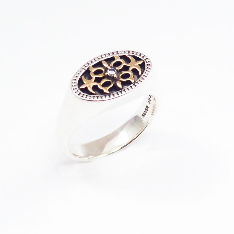 シルバー925 メンズリング紋章の様なアラベスク模様が特徴的なアラベスクがポイントのSILVERとCUAL(銅合金)のコンビリング - SILVER925, CUAL(銅合金), キュービックジルコニア(Oval Arabesque Ring)