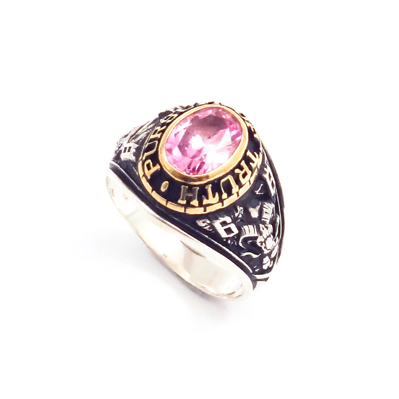 シルバー925 メンズリングSILVERとCUAL(銅合金)のコンビカレッジリングで、金型でつくっているカレッジリング(College Ring 003 Pink)