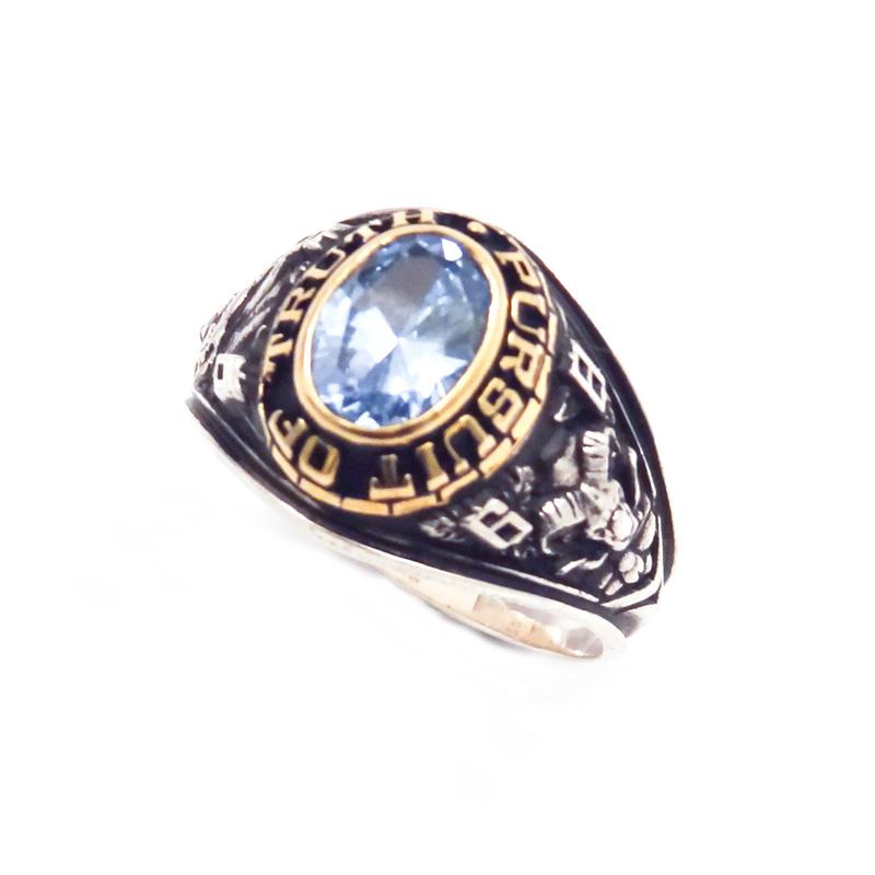 シルバー925 メンズリングSILVERとCUAL(銅合金)のコンビカレッジリングで、金型でつくっているカレッジリング(College Ring 004 Light Blue)