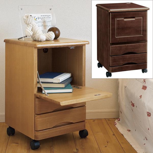 ナイトテーブル ベッドサイドやソファーの横にシンプルなサイドテーブル おしゃれ 木製 収納 キャスター付き コンセント付き コンパクトサイズ NA-750 送料無料