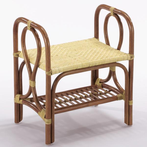【送料無料】天然の素材を使用しアジロ編みを施したお洒落なスツールラタンスツール/籐椅子/籐スツール/スツール/腰掛/籐/S-52A