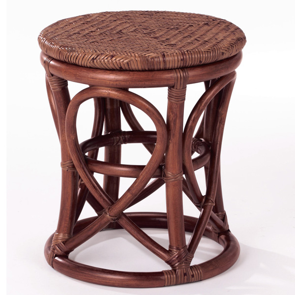【送料無料】天然の素材を使用しアジロ編みを施したお洒落なスツールラタンスツール 籐椅子 籐スツール S-34D