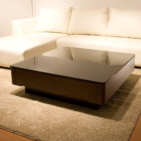 代引き不可商品 【送料無料】ブラックガラスとニレ材の木目が美しいリビングテーブルガラストップリビングテーブル センターテーブル Arly kg-868e