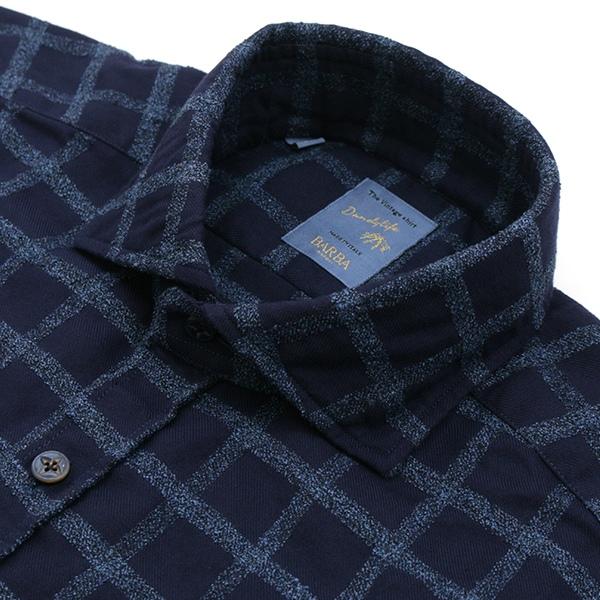 バルバ/BARBA シャツ メンズ DANDYLIFE チェックシャツ ネイビーチェック LFU136-4943-01QNCH