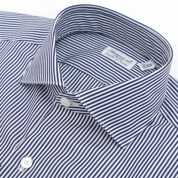 【2018春夏SALE】フィナモレ/FINAMORE シャツ メンズ MILANO コットンシャツ NAVY/WHITE 2018年春夏新作 ZANTE-010585-03NAW
