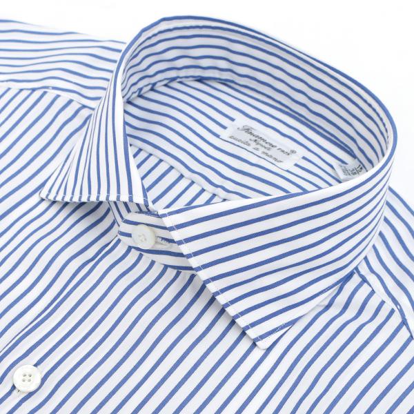 フィナモレ/FINAMORE シャツ メンズ MILANO コットンシャツ NAVY/WHITE 2018年春夏 ZANTE-840203-02NAW