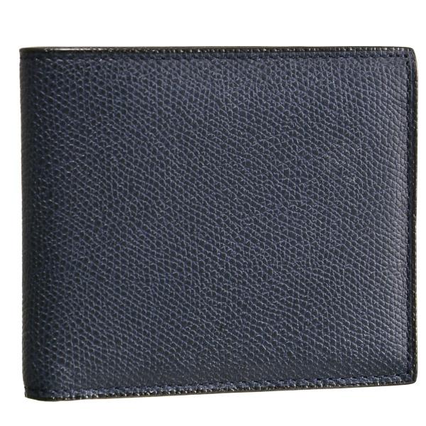 ヴァレクストラ/VALEXTRA 財布 メンズ グレインレザー 2つ折り財布 ネイビー V8L04-028-000U