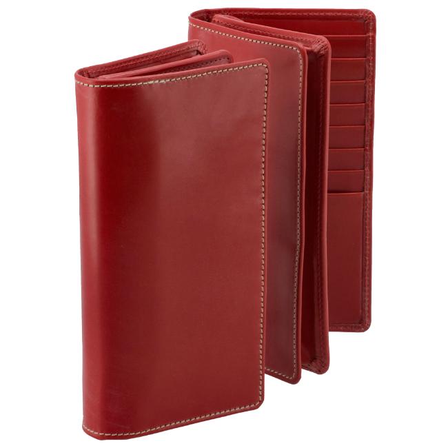 ホワイトハウスコックス/WHITEHOUSE COX 財布 メンズ ブライドルレザー 2つ折り長財布 レッド S8819-SC-0004
