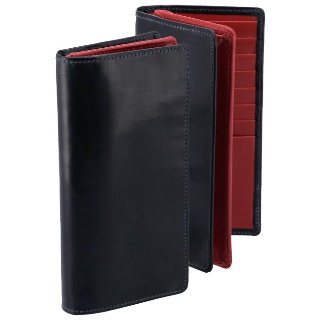 ホワイトハウスコックス/WHITEHOUSE COX 財布 メンズ ブライドルレザー 2つ折り長財布 ネイビー×レッド S8819-SC-0009