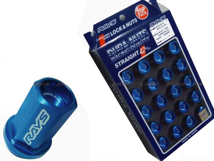 【RAYS】レイズ ジュラルミン ロック&ナットセット19HEX 5穴用 M12xP1.560°テーパー座 L42ストレート42mm20個入 ブルーアルマイト
