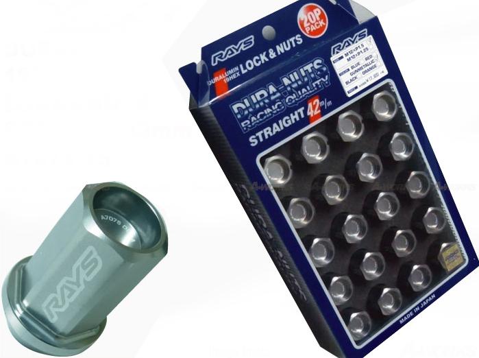 【RAYS】レイズ ジュラルミン ロック&ナットセット19HEX 5穴用 M12xP1.2560°テーパー座 L42ストレート42mm20個入 ガンメタリックアルマイト