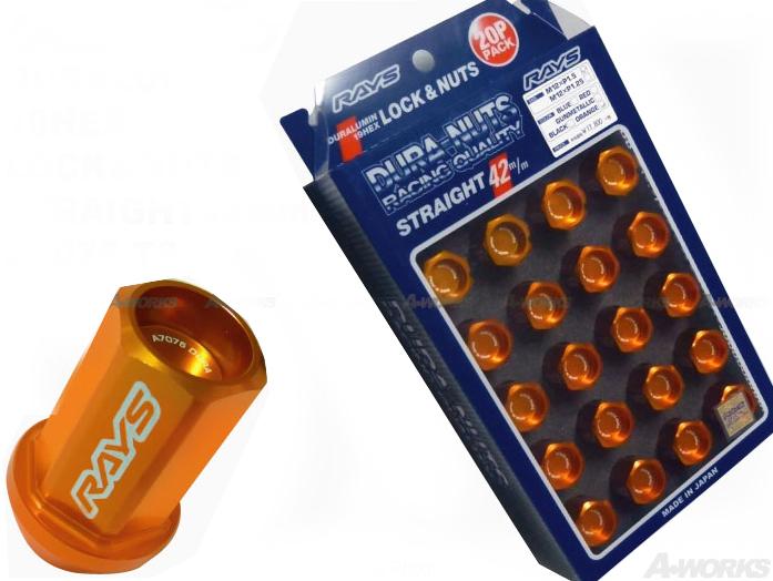 【RAYS】レイズ ジュラルミン ロック&ナットセット19HEX 5穴用 M12xP1.2560°テーパー座 L42ストレート42mm20個入 オレンジアルマイト