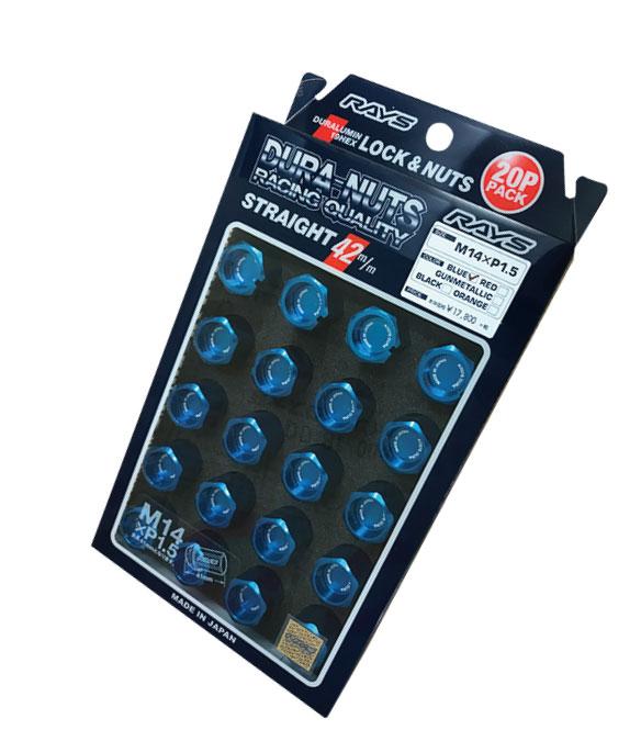 直仕入 正規品 LEXUS ☆正規品新品未使用品 LS460 LC500等 RAYS レイズ ジュラルミン ロックナットセット19HEX 5穴用 L42ストレート42mm20個入 付与 ブルーアルマイト M14xP1.560°テーパー座