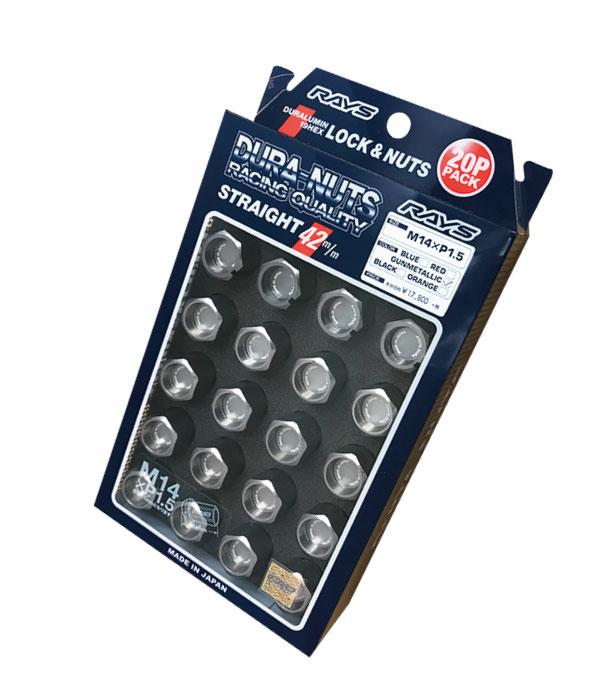 【RAYS】レイズ ジュラルミン ロック&ナットセット19HEX 5穴用 M14xP1.560°テーパー座 L42ストレート42mm20個入 ガンメタリックアルマイト