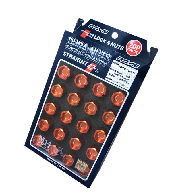 【RAYS】レイズ ジュラルミン ロック&ナットセット19HEX 5穴用 M14xP1.560°テーパー座 L42ストレート42mm20個入 オレンジアルマイト
