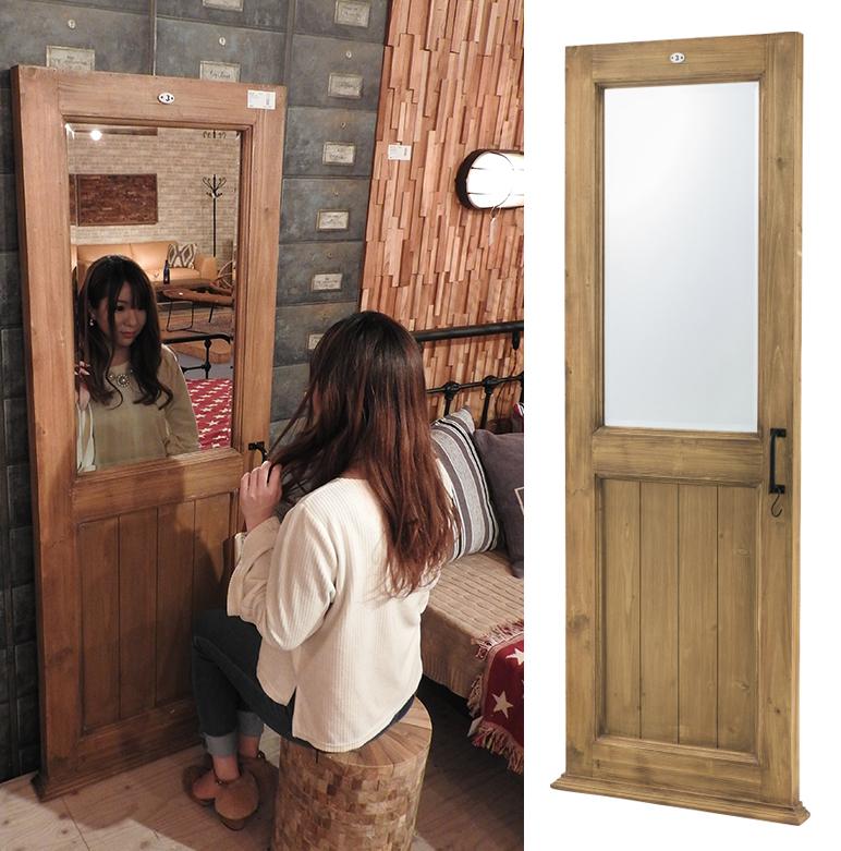 ドア型 スタンドミラー TSM-277 全身 ミラー アンティーク 姿見 鏡 スリム 全身鏡 木製 ウッド ワイド アメリカ 雑貨 北欧 おしゃれ インテリア 家具 新生活 一人暮らし