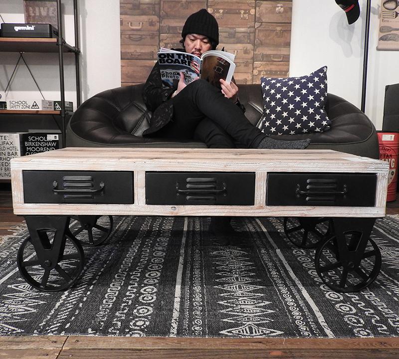 ホイール テーブル IW-88 センターテーブル 机 リビングテーブル ローテーブル アメリカン 北欧 ビンテージ アンティーク 天然木 コーヒーテーブル ナチュラル カフェテーブル ソファ 木製 お洒落 西海岸 おしゃれ インテリア 家具 新生活 一人暮らし