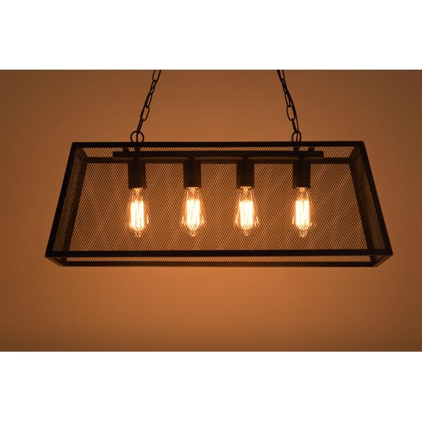 ライト LHT-743 /照明 4灯 LED対応 ヴィンテージ 黒フレーム 吊り下げ式 リビング キッチン おしゃれ アイアン レトロ ダイニング 寝室 6畳 シーリングライト カフェ 天井照明