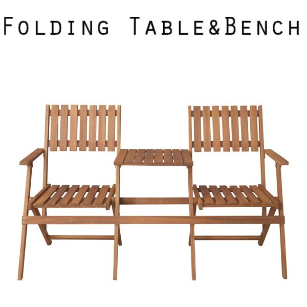 折りたたみ式 テーブル付きベンチ NX-931 フォールディングチェア アウトドア パラソル設置可能 椅子 屋外 屋内 ビーチ キャンプ チェアー アウトドア 兼用 ソファ キャンプ 海水浴 海 プール 木製 簡易 ダイニングセット