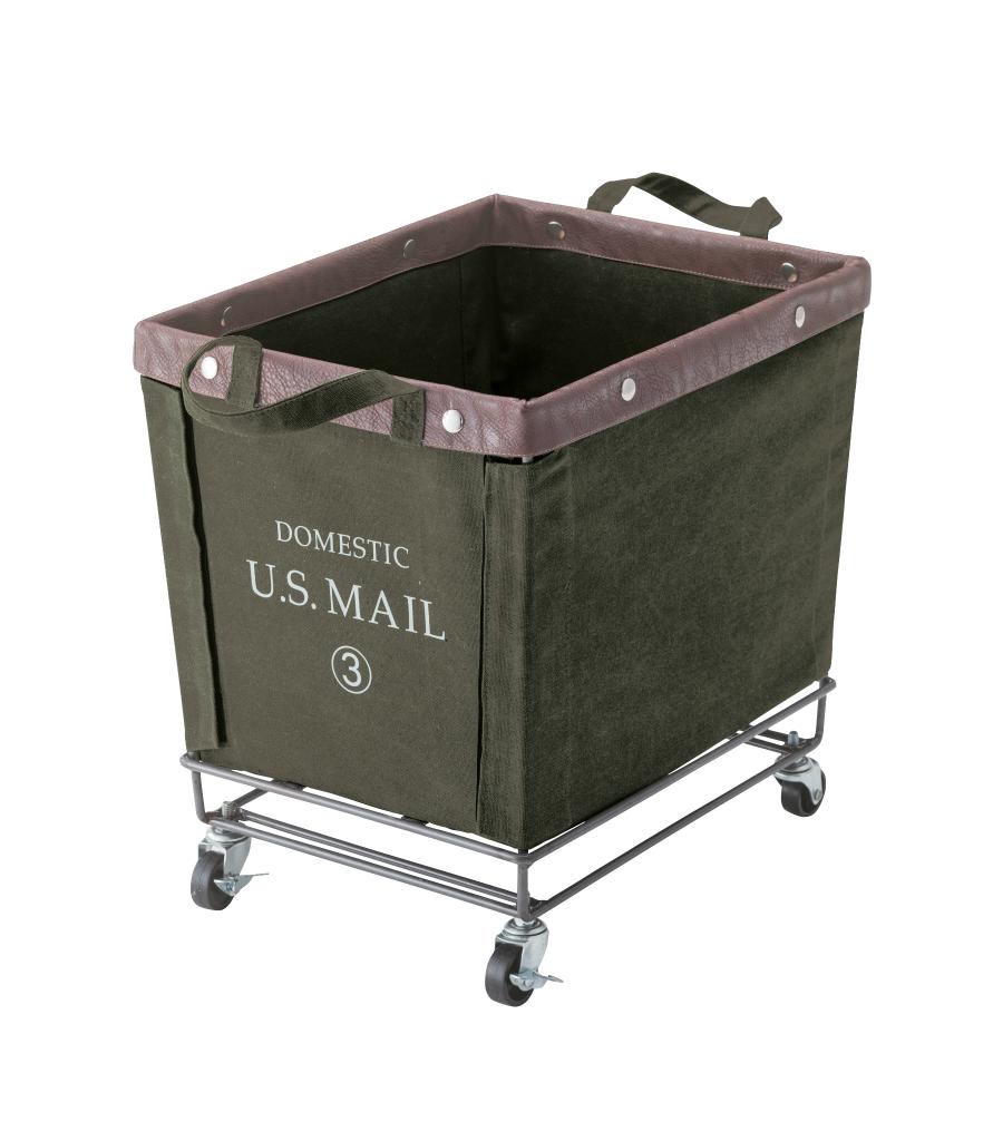 USメール バスケットワゴン mip-88gr キャスター付き ミリタリー ボックス かご カゴ U.S.MAIL ランドリーボックス 洗濯カゴ 小物入れ おもちゃ箱 収納 アンティーク ビンテージ おしゃれ インテリア 家具 新生活 一人暮らし
