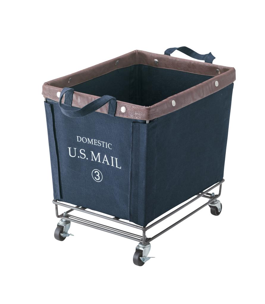USメール バスケットワゴン mip-88nv キャスター付き ミリタリー ボックス かご カゴ U.S.MAIL ランドリーボックス 洗濯カゴ 小物入れ おもちゃ箱 収納 アンティーク ビンテージ おしゃれ インテリア 家具 新生活 一人暮らし