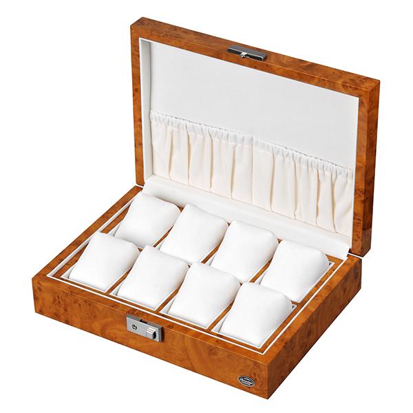 高級木製8本時計ケース 薄木目 鍵付き コレクションボックス 小物収納スペース付 LU51010RW / Es'prima LUHW 高級 ケース アンティーク ビンテージ 機械式 時計 ローテンシュラガー 自動巻き腕時計