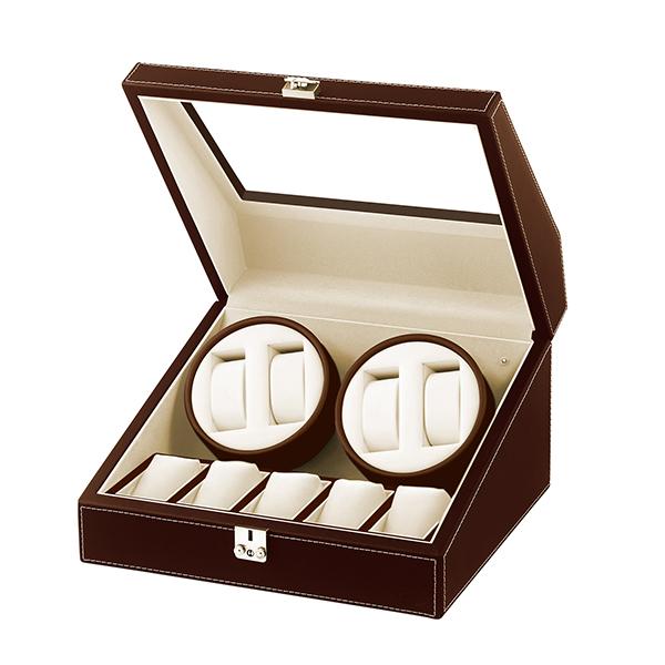 【送料無料】 Es'prima S.P.I 合皮4連ワインディングマシーン/ウォッチワインダー SP43014LBR 自動巻き腕時計 4本用 高級 ケース アンティーク ビンテージ 機械式 時計 メンテナンス エスプリマ レザー